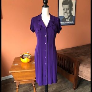 VINTAGE HARVE BENARD purple shirt dress